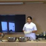 Hazel teaching our residents to make dips and appetizers.