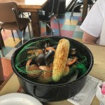 Steam pot with Potatoes, Corn, Sausage, Shrimp, Clams & Mussels. It was so yummy!