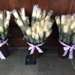 Long Stemmed Cream Colored roses for each lady.