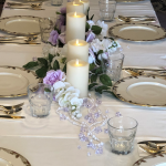 Long tables were brought in and set with linen and China